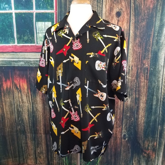 207be354e Dragonfly Shirts | Mens Guitar Print Lounge Bowling Shirt | Poshmark